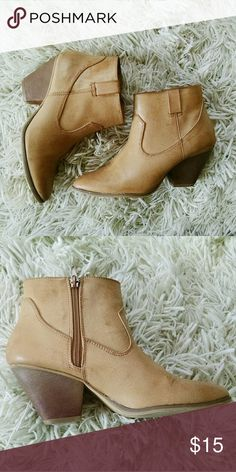 Forever 21 Faux Leather Tan Ankle Boots Cute, comfortable tan ankle boots. I expect that the color of these will develop very well with wear. Very lightly worn (two or three times max). Synthetic materials. They zip on the inside. Forever 21 Shoes Ankle Boots & Booties
