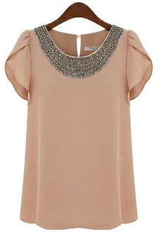 beaded neck blouse