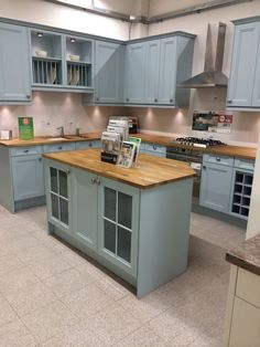 Hygena Valetti Blue Kitchen. Perfect for homes you want to add a contemporary twist to a traditional kitchen. Available in blue, cream, and stone, a solid wood work surface perfectly compliments this kitchen range alongside our large selection of worktop choice.