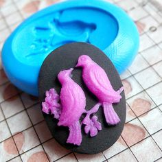 Bird Cameo Mold 25mm Silicone Mold Flexible Mold DIY Jewelry Brooch Fimo Polymer Clay Animal Cabochon Resin Wax Fondant Gumpaste Mold MD635