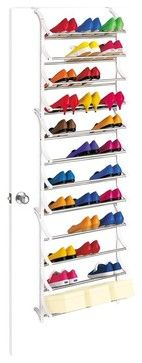 36 Pair OverDoor Shoe Rack in White - contemporary - Clothes And Shoes Organizers - ivgStores