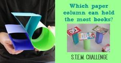 easy and fun STEM activities for kids like this engineering challenge testing the strength of paper. How many books a piece of paper can support when folded