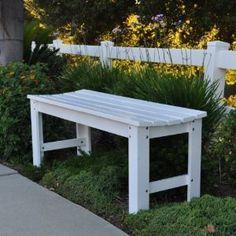 "Backless Wooden Garden Bench (White) (18.25""H x 48""W x 17""D)"
