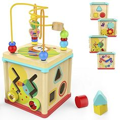 christmas activities for toddlers - TOP BRIGHT Activity Cube Toys Baby Educational Wooden Bead Maze Shape Sorter 1 year old Boy Girl Toddlers Gift Small Size *** You could learn even more details at the link of the image. (This is an affiliate link). 4 Year Old Boy, Toys For 1 Year Old, Activity Cube, Activity Toys, Fun Activities, Activity Centers, Toddler Gifts, Toddler Toys, Infant Toddler