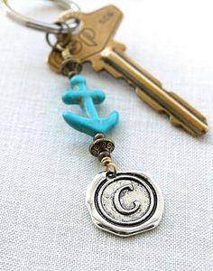 Personalized Keychain Initial Keychain Anchor by KapKaDesign