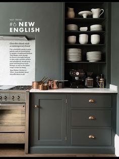 London's deVol kitchens sent me an email this week sharing this stunning shaker Kitchen in a victorian home in the heart of London. dreamy, right? i'm working away on my own kitchen remodel ideas, so Dark Grey Kitchen, Green Kitchen, Kitchen Colors, New Kitchen, Kitchen Decor, Updated Kitchen, Kitchen Ideas, Kitchen Corner, Country Kitchen