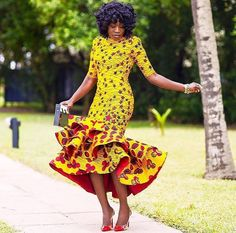 Get this look/ Yellow African Print Dress/African Clothing/African Dress For Women/African Fabric Dress/African Fashion/African Midi Dress/Ankara Dress. African Wedding Dress, African Print Dresses, African Dresses For Women, African Wear, African Attire, African Fashion Dresses, African Women, African Prints, African Fabric