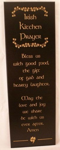 Irish Kitchen Prayer Engraved Maple Wood Sign. $31.99, via Etsy.
