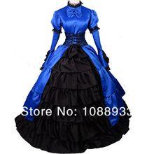 Gothic Lolita disfraces de halloween para las mujeres adultas belle princesa azul vestido de baile Sur victoriano vestido victoriano personalizados(China (Mainland))