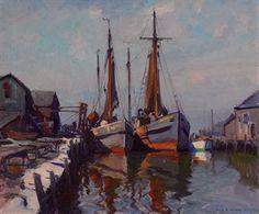 Emile Albert Gruppe (1896-1978) | Boats in Gloucester Harbor ...