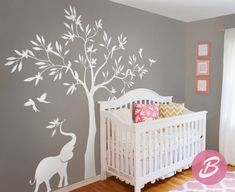 White tree wall decal Wall decal with elephant by TheAmeliaDesigns