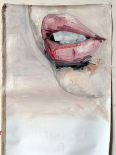 """Saatchi Online Artist Julien Legars; Painting, """"flesh wound on mouth"""" love this painting style"""