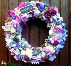 Lila virágos kopogtató (22 cm)  (pinkrose) - Meska.hu Hanukkah, Floral Wreath, Wreaths, Home Decor, Lilac, Room Decor, Garlands, Home Interior Design, Decoration Home
