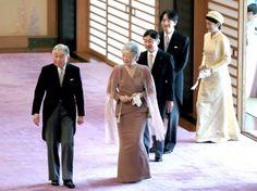 (L-R) Emperor Akihito, Empress Michiko, Crown Prince Naruhito, Prince Akishino and Princess Kiko of Akishino attend the tea ceremony to celebrate his 79th birthday at the Imperial Palace