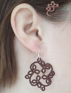 from Sarah Carroll Diy Lace Earrings, Tatting Earrings, Tatting Jewelry, Beaded Jewelry, Handmade Jewelry, Shuttle Tatting Patterns, Tatting Patterns Free, Loom Patterns, Needle Tatting