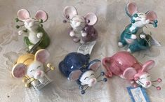 Amy-Lacombe-Whimsiclay-Complete-Set-Of-6-Mice-Mouse-Figurine-Art