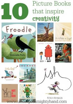 10 Picture Books that Inspire Creativity for children *and* adults Preschool Books, Book Activities, Preschool Library, Drama Activities, Kids Reading, Teaching Reading, Reading Books, Reading Lists, Abc Learning