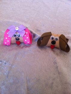 Puppy or Dog Ribbon sculpture hair clips
