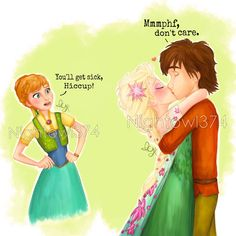 Hiccelsa Frozen Fever kiss :)  I need to study the new Elsa and Anna dresses more…but I think it came out pretty well!  I got inspired to draw Hiccup with a red shirt because of the new httyd series coming on Netflix. Plus that way everyone's wearing a new outfit :P  Enjoy!  Please do not tamper with this drawing.