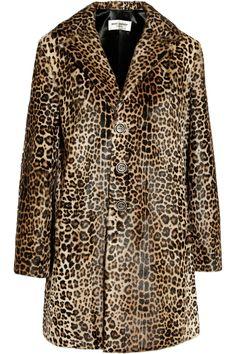 SAINT LAURENT Leopard-print goat hair coat