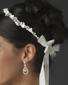 Greek Style Headpiece with Flowers Pearls and crystals $99.97 on etsy