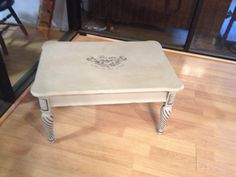 coffee table painted with chalk paint in french linen, clear and dark wax, distressed