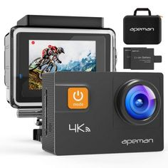 APEMAN Action Camera WiFi Waterproof Underwater Sports Camcorder Ski Camera with EIS Zoom 170 Degree Ultra Wide Angle Lens with Mounting Accessories and Portable Carrying Bag : Camera & Photo Best Camera For Hiking, Action Cam, Wifi, Dslr Photography Tips, Photography Equipment, Travel Photography, Wedding Photography, Waterproof Camera, Shopping