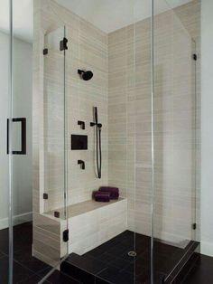 Shower Tile Design, Pictures, Remodel, Decor and Ideas - bathroom shower ideas Corner Bench Seating, Bathroom Tile Designs, Bath Remodel, Beautiful Bathrooms, Bathroom Inspiration, Home Remodeling, Shower Tiles, Glass Shower, Shower Basin