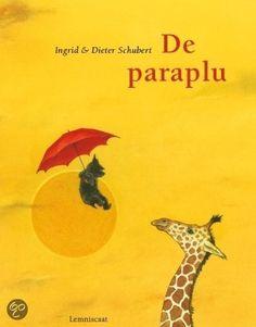 De paraplu - Ingrid & Dieter Schubert. Dit tekstloze prentenboek nodigt uit tot praten, over de reis per paraplu, de ontmoetingen met dier en mens, de emoties van het zwarte hondje en de kleine details die op de prenten te zien zijn.