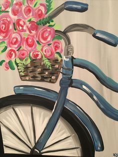 63 Best Ideas For Painting Inspiration Flowers Canvases Easy Canvas Painting, Summer Painting, Simple Acrylic Paintings, Canvas Art, Bicycle Painting, Bicycle Art, Bicycle Design, Tableau Pop Art, Flower Canvas