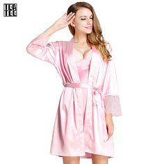 c219f30b06 Robe Sexy Warm Sexy Pajamas Bathrobes Women Gowns Women Home Kimono  Feminino Winter Dressing Gown Faux Pink Silk Robe Sleepwear