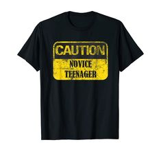 Amazon.com: Caution! Novice Teenager,Funny Gift idea for a 13th birthday T-Shirt: Clothing