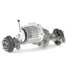 The 90RF is a double reduction rigid drive axle, designed to take drive from an electric motor, with hydrostatic input as an option. Power is transmitted to the wheels via a set of double reduction gears and a four pinion differential.