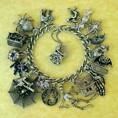 Vintage Silver Kooky and Spooky Halloween Charm Bracelet Movers Openers Nuvo | eBay
