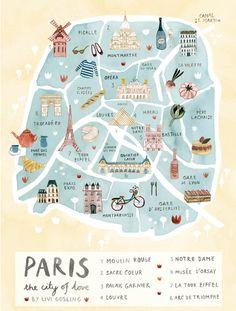 mapa de paris ilustrado livi gosling