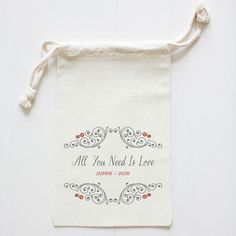 All you need is love. Love is all you need. #weddingfavorbags #weddingchickshop http://shop.weddingchicks.com/all-you-need-is-love-favor-bag/