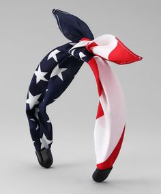 Red & Navy American Flag Headband by Tilted Bow