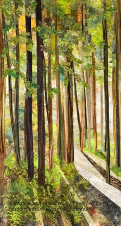 Sunshine and Shadows....a landscape art quilt by Eileen Williams