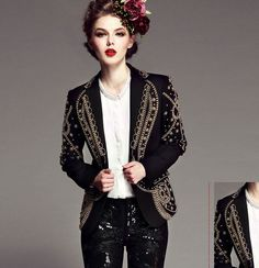 2013 luxury autumn winter women beading fashion suit vintage fashion slim blazer outerwear handmade baroque brand black white
