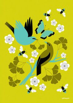 'Ginkgo Gift Chartreuse' by Eleanor Grosch Graphic Art on Canvas