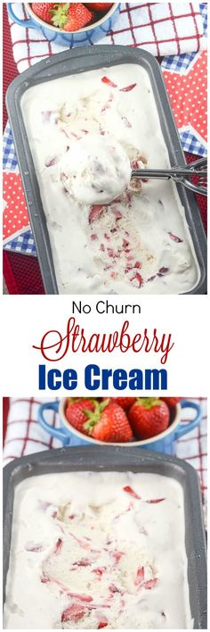 Do you ever crave creamy, decadent ice cream but don't have an ice cream maker? No worries. Make this rich, creamy and Easy Homemade No Churn Strawberry Ice Cream Recipe with fresh strawberries and only 4 ingredients, and no ice cream maker is required.