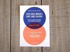 Wedding Invitation - Modern Venn Diagram. $4.00, via Etsy.