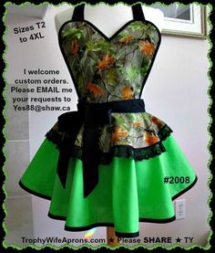 ☀ Sexy retro Apron # 2008 - Oak leaves camo over apple green circular apron-