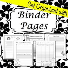 Black/White Editable Teacher Binder and Organizer
