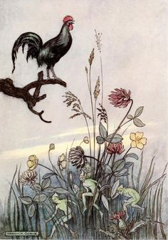 'When the cock had now crowed for the third time, … the little men stole down and disappeared' (Adventures of John Dietrich).Illustration by Warwick Goble from 'The Fairy Book' published 1913 by Macmillan & Co.archive.org