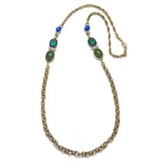 Green Stone Long Chain Necklace by Gerard Yosca