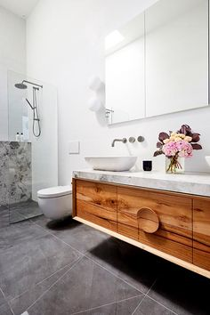 The Block 2018 ensuite reveal: Bianca and Carla ensuite with stone feature wall and custom timber vanity. - April 21 2019 at Zen Bathroom, Bathroom Renos, Bathroom Storage, Vanity Bathroom, Bathroom Ideas, The Block Bathroom, Timber Bathroom Vanities, Bathroom Feature Wall, Coral Bathroom