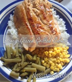 Honey-Glazed Grilled Salmon  Recipe:  Seafood: Salmon, Fillets, Large Portion 1  Condiments: Honey 3 tbsp, Lemon Juice 3 tbsp, Garlic Powder 3 tbsp  Baking & Spices: Black Pepper 1/2 tsp, Salt 1/2 tsp  Dairy: Butter 3 tbsp