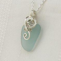Aqua  Sea Glass Necklace by Stone Nest - Something Blue