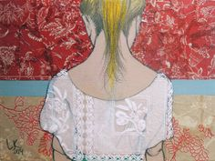 untitled picture of woman (2014) by Lena Kramarić (b. 1982), Croatia - acrylic/fabric/paper (Saatchi Art)